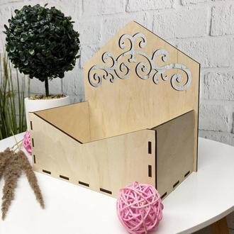 Декоративная деревянная коробка для цветов