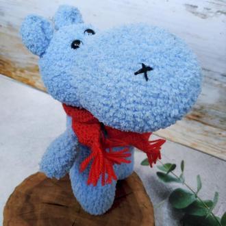 Голубой плюшевый бегемот амигуруми Игрушки