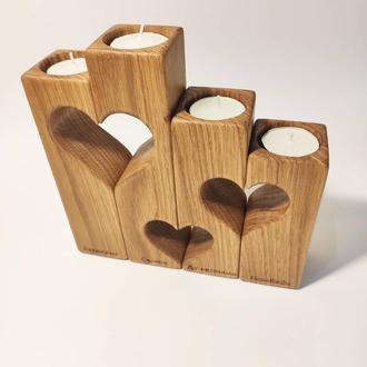 Подсвечник из дерева, подарок на День Святого Валентина, декор из дерева, подарок любимому мужу.