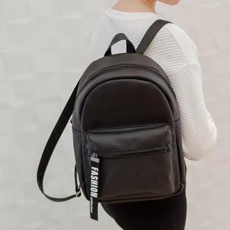 Вместительный женский черный рюкзак для учебы