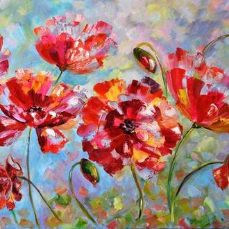 "Картина маслом ""Маки"", квіти 50х80 см"