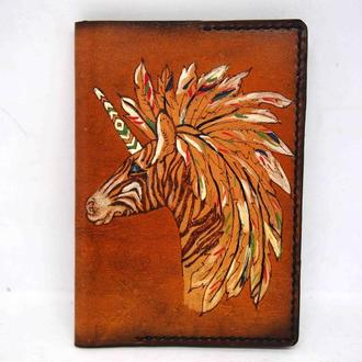 Обложка на паспорт зебра, обложка с единорогом, единорог, подарок девушке
