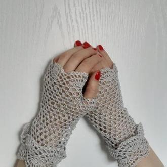 Митенки светло серые Вязаные митенки для вечеринки Красивые перчатки под любой наряд
