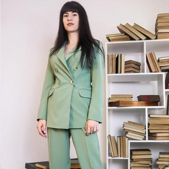 костюм женский на подкладке оливковый