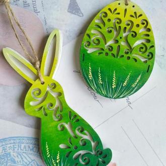 Пасхальное украшение из дерева. Пасхальный декор ручной работы.Пасхальный кролик. Пасхальное яйцо.