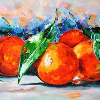 Картина маслом Апельсиновый Аромат живопись натюрморт 80х60 см