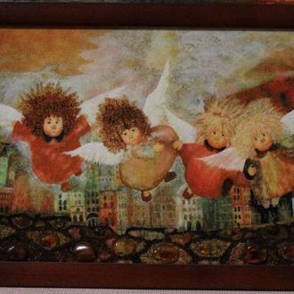 Картина з бурштину Ангели