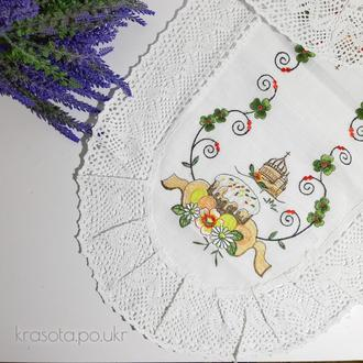 Пасхальная салфетка (70×42 см), белый лен