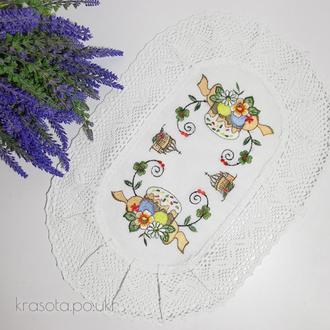 Пасхальная салфетка (46×32 см), белый лен