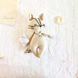 Эко игрушка из льна для самых маленьких. Волчонок с инициалами.