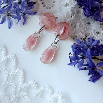 Розовые серьги (модель №059)