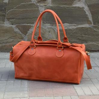 Кожаная сумка сочного апельсинового цвета