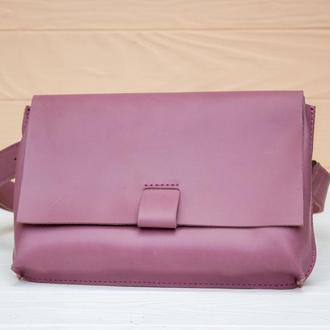 Красивая поясная сумка из натуральной кожи сиреневый