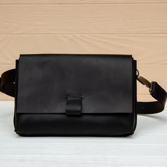 Красивая поясная сумка из натуральной кожи черный