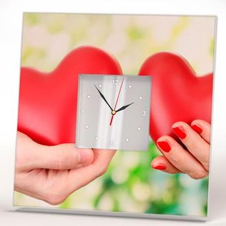 """Часы настенные с рисунком для влюбленных """"Люблю тебя. Два сердца"""""""