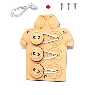 Заготовка для Бизиборда Деревянная Рубашка 3 Пуговицы Шнуровка на Резинке Дерев'яна Сорочка Шнурівка