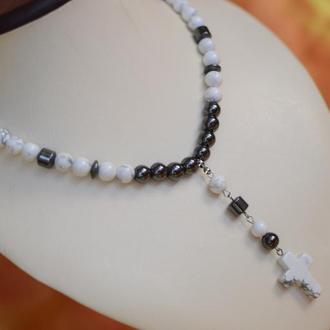 Розарий (бусы-четки)  из магнезита и гематита с крестом ′Меркурий′