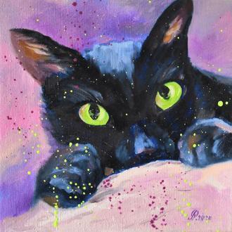 Зеленые глазки, четный кот, 30х30см