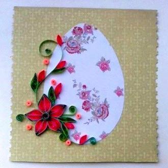Пасхальна листівка в техніці квілінг
