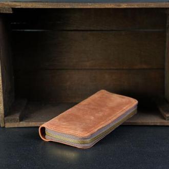 Кожаный кошелек на круговой молнии с ручкой, кожа Crazy Horse, цвет Коньяк