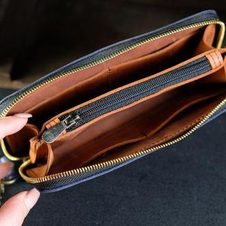 Кожаный кошелек на круговой молнии с ручкой, кожа Crazy Horse, цвет Синий