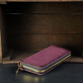 Кожаный кошелек на круговой молнии с ручкой, кожа краст, цвет Бордо