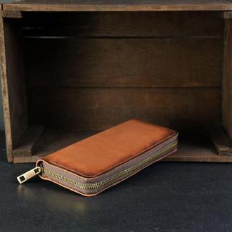 Кожаный кошелек на круговой молнии с ручкой, кожа краст, цвет Коричневый