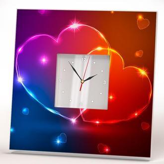 """Часы с изображением для влюбленных """"Два сердца"""""""