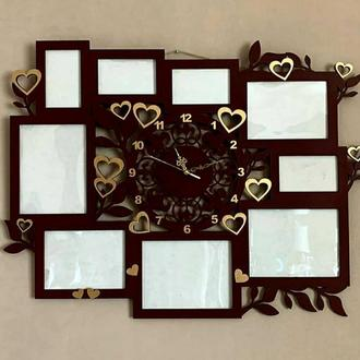 "Фоторамка+часы ""Сердечки"" Размер общий 85х60 см"