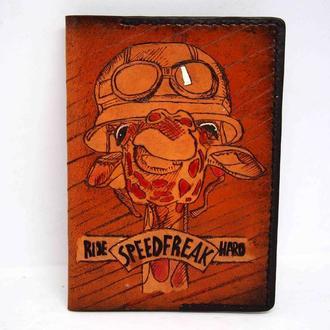 Кожаная обложка на паспорт жираф, подарок мотоциклисту, обложка с жирафом
