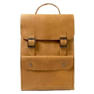 Кожаный рюкзак на пряжках. 01004/желтый