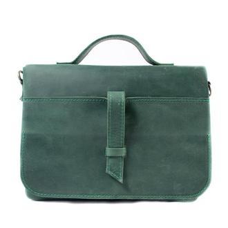 Кожаная сумка на скрытом клапане. 07003/зеленый