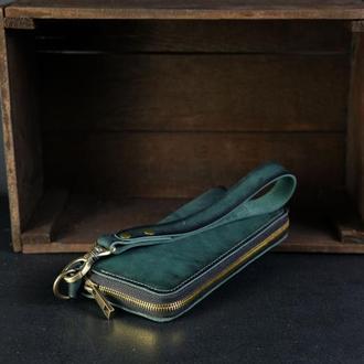 Кожаный кошелек на круговой молнии с ручкой, кожа краст, цвет зеленый