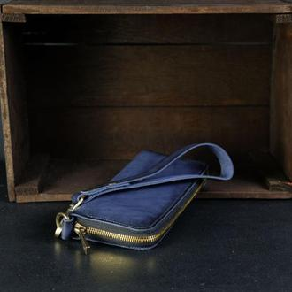 Кожаный кошелек на круговой молнии с ручкой, кожа краст, цвет синий