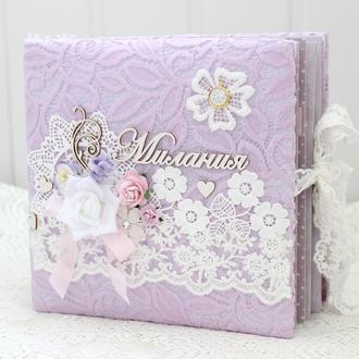 Нежный скрап альбом для девочки , фотоальбом ручной работы для новорожденной , подарок новорожденной