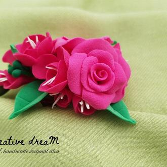 "Рожева заколка-брош на випускний ""French rose"""