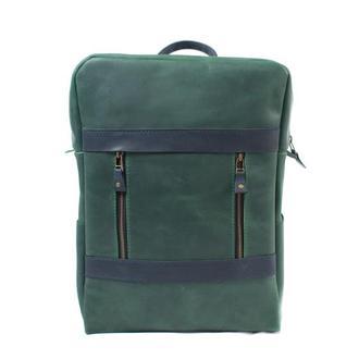 Двухцветный кожаный рюкзак. 01001/зеленый+синий