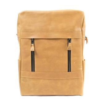 Желтый кожаный рюкзак ручной работы. 01001/желтый