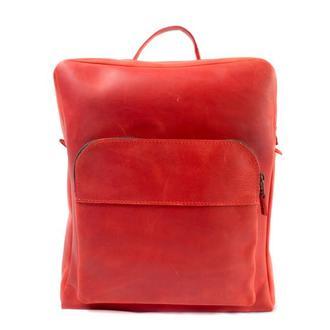 Кожаный рюкзак на молнии. 01006/красный