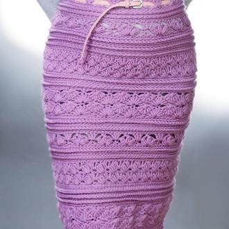 Сиреневая вязаная демисезонная  юбка карандаш