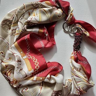 """""""Карнавал страстей,, Шелковый шарф, шелковый  платок, шарф-колье, шарф-чокер, шейный платок"""
