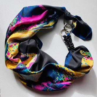 """""""Весенняя гроза ,,  атласный платок, шелковый шарф, шейный платок, шарф-ожерелье"""