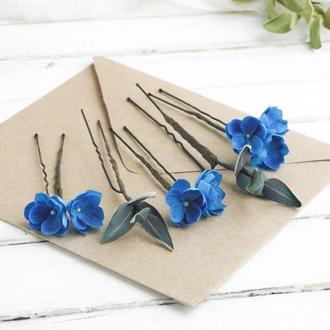 Синие шпильки с цветами / Шпильки в прическу для невесты