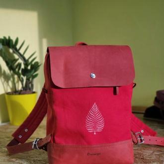 Женский красный рюкзак из канваса и натуральной кожи