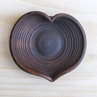 Блюдце кавове гончарне Серце
