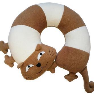 Дизайнерская подушка подголовник и игрушка Silenta Кот Полосатый коричневый