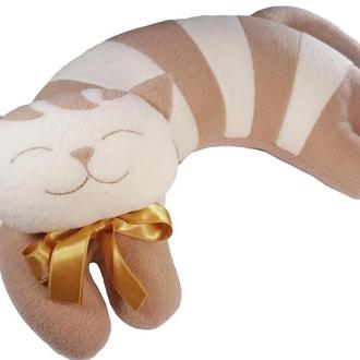 Дизайнерская подушка подголовник и игрушка Silenta Полосатый Кот коричневый