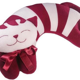 Дизайнерская подушка-подголовник и игрушка Silenta Полосатый Кот бордо