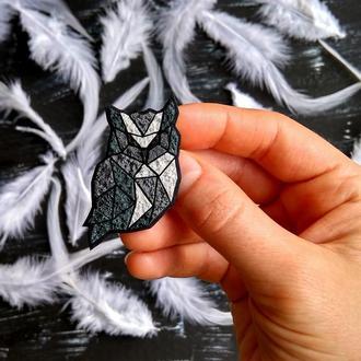 Полигональная брошь птица Сова. Дизайнерская брошь Сова ручной работы. Минималистичное украшение