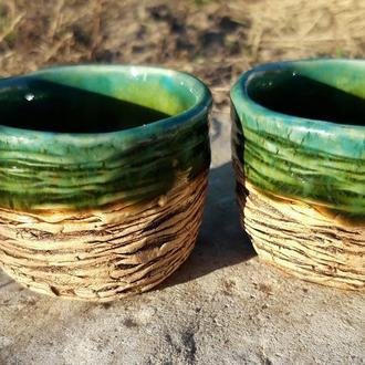 Пара чайних чаш, чашки з зелено-блакитною поливою